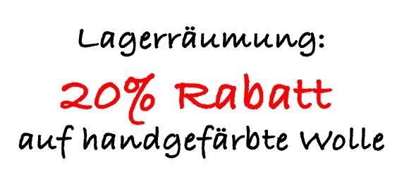 20% Rabatt auf handgefärbte Wolle